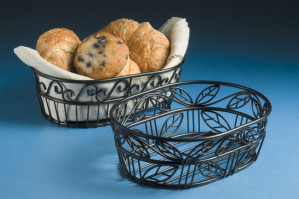 "Bread Basket, 6""x9"", Black scroll design"