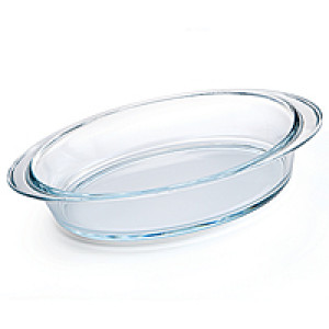 "Glass Roast pan, 15""x10.5 oval"