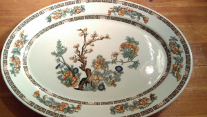 "Indian Tree 13.25"" Platter with orange Flowers"