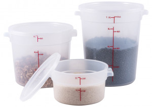 22 qt Translucent food storage container, Round.