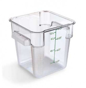 8 qt square food storage container, clear