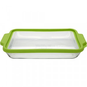 Glass oblong bake dish 3 quart w/ green seal lid