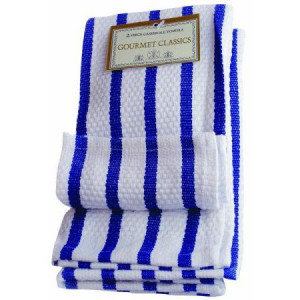 Dish cloth, Set of 2, Cobalt blue, Stripe