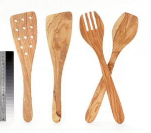 "Wood salad server set, Olive wood, 13"", 2 piece"