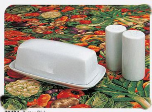 White ceramic covered butter dish