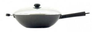 "14"" Stir fry pan, nonstick, w/ glass lid"