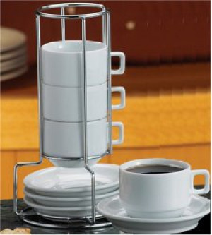 Espresso cup & saucer, Set of 4 w/ Stand