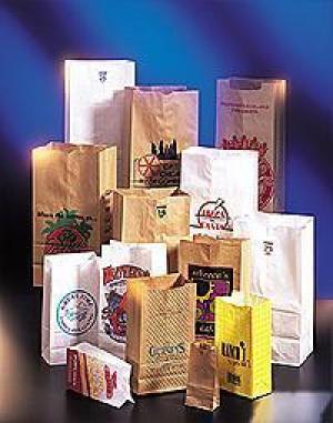 White paper bags, 6 lb, 11-1/16x6x3-5/8, 500/pk