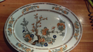"Indian Tree 16"" Platter with Orange Flowers"