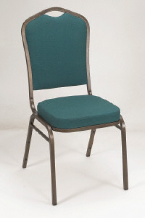 Crown back stack chair, Silver w/ Burgundy fabric