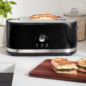 4 slice Long Slot Toaster Onyx Black