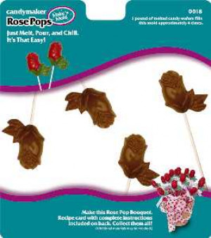 Rose bud pops candy mold 4 cavities
