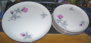 "Syracuse China Bridal Rose 10.5"" dinner plate"