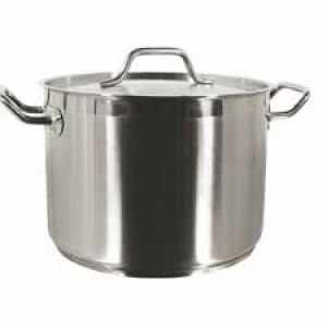 Stock pot, 20 qt with cover, S/S w/ clad bottom