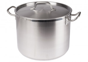 Stock pot, 24 qt with cover, S/S w/ clad bottom