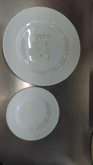 "7 3/8"" White Wide Rim Lunch Plate"