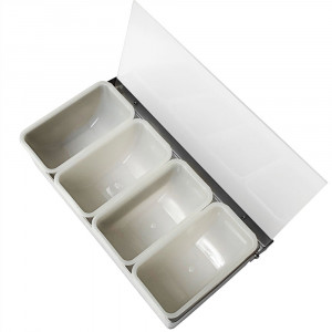 Bar Condiment Dispenser, 4 compartment, s/s