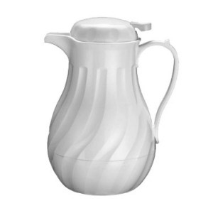 Beverage server, 64 oz, swirl design, White