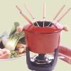 10 piece Fondue set, Cast iron, 6 cup, Red