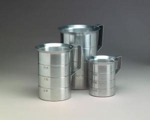 Measure cup, Graduated, Aluminum, 4 qt, Spec Orde