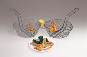"Coarse mesh breading & culinary basket, 8"" round"