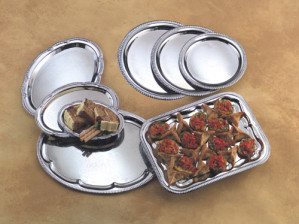"Serving tray, chrome 9.5""x6.75"" Oval"