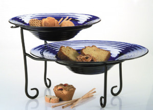 2 tier Display Stand, Black wrought iron