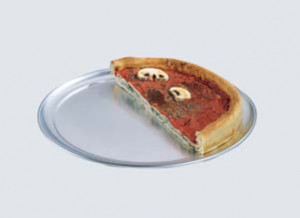 "Pizza Pan, wide rim, 14"", solid, 18 gauge aluminum"