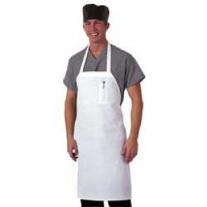 Bib Apron, White, Adjustable neck strap