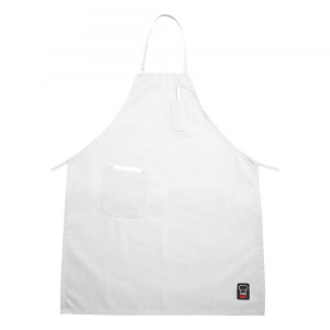 Bib apron, White, Pencil pocket and front pocket