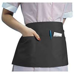 Waist apron, Black, 3 Pocket, 12x24