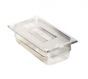 "Food Pan 1/4 size, 2.5"" deep, clear plastic"