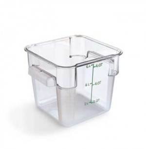 6 qt square food storage container, clear