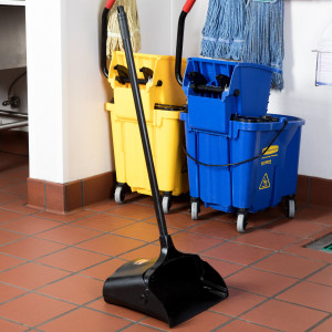 """Lobby Dust Pan, 12"""" wide, Plastic w/ Metal handle"""