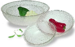 "Polycarbonate pebbled bowl, Clear, 6"", .6 qt."