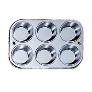 Muffin pan, S/S, 6 cup