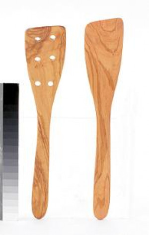 "12"" spatula, Olive Wood, Perforated"