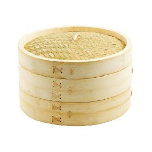 "Bamboo steamer, 12"", 3 piece"