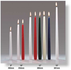 "White 15"" taper candles, 12/box"