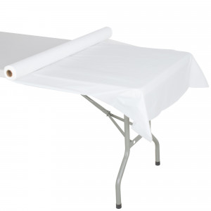"White roll table cover, 40""x300', Smooth Plastic"