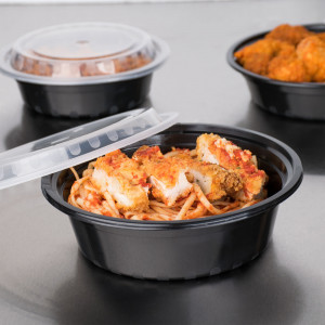 32 oz. Black Round Deli container w/ Lid, 150/cs