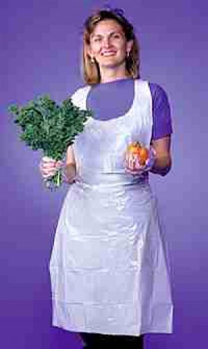 24x42 Disposable poly apron, White, 100/box