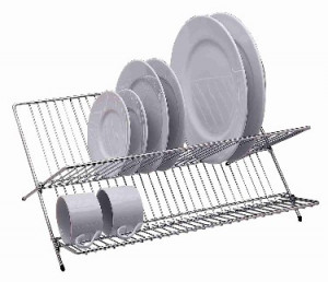 Folding dish rack, Chrome 19x14.5, Holds 25 pieces