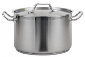 Stock pot, 16 qt with cover, S/S w/ clad bottom
