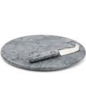 "Grey Marble Cheese Board w/ Knife, 10"" diameter"