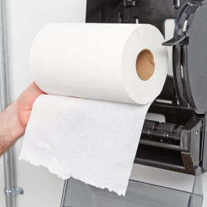 White Hardwound Paper Towel, 350 Feet / Roll