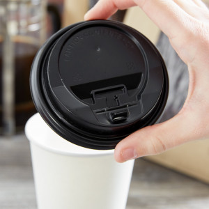 Lid with hinged tab, fits 10-24 paper hot cups