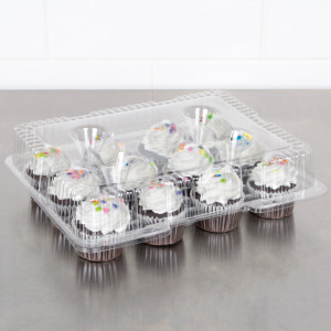 Clear Hinged Cupcake 12 Holder Holds 12, 76/case
