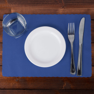 Navy Blue Placemat, 9.5x13.5 scalloped edge