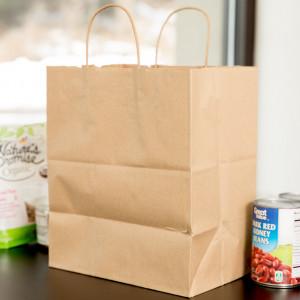 Kraft shopping bag, recycled 10x6.75x12